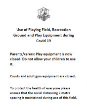 Corvid-19: Parks, Recreation Fields & Children's Play Areas